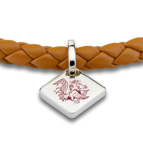 University of South Carolina Leather Bracelet with Sterling Silver Tag - Saddle - Image 2