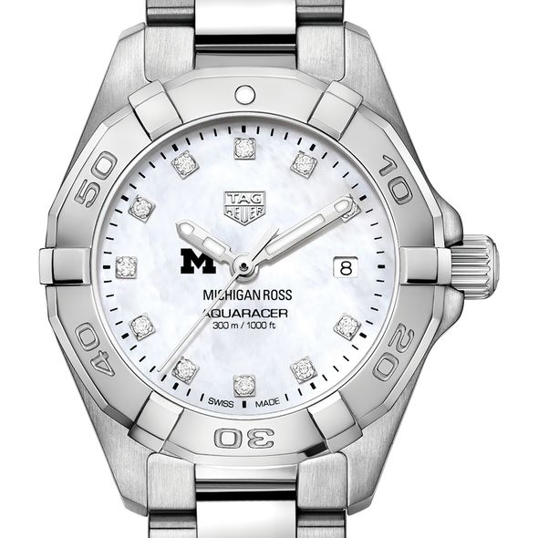 Michigan Ross Women's TAG Heuer Steel Aquaracer with MOP Diamond Dial - Image 1