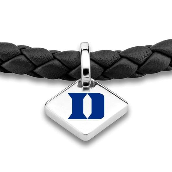 Duke Leather Bracelet with Sterling Silver Tag - Black - Image 2