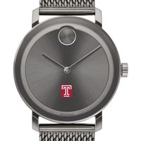 Temple University Men's Movado BOLD Gunmetal Grey with Mesh Bracelet