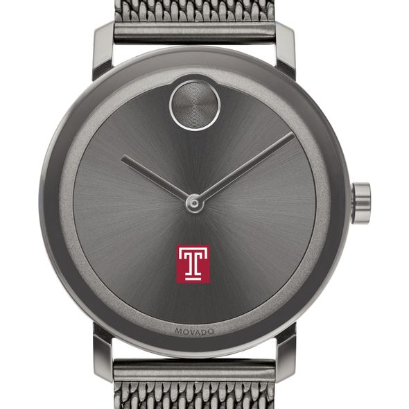 Temple University Men's Movado BOLD Gunmetal Grey with Mesh Bracelet