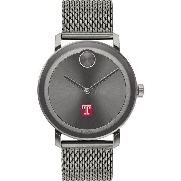 Temple University Men's Movado BOLD Gunmetal Grey with Mesh Bracelet - Image 2