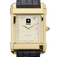 NYU Men's Gold Quad Watch with Leather Strap