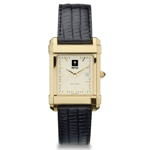NYU Men's Gold Quad Watch with Leather Strap - Image 2