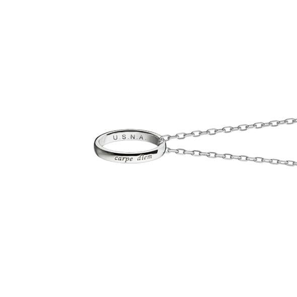 "Naval Academy Monica Rich Kosann ""Carpe Diem"" Poesy Ring Necklace in Silver - Image 3"