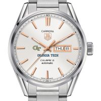 Georgia Tech Men's TAG Heuer Day/Date Carrera with Silver Dial & Bracelet