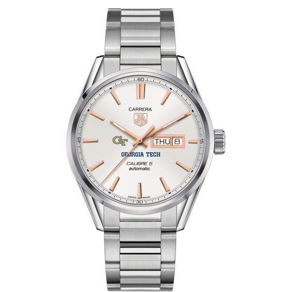 Georgia Tech Men's TAG Heuer Day/Date Carrera with Silver Dial & Bracelet - Image 2