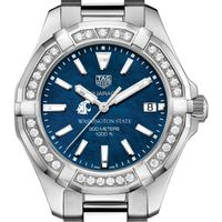 WSU Women's TAG Heuer 35mm Steel Aquaracer with Blue Dial