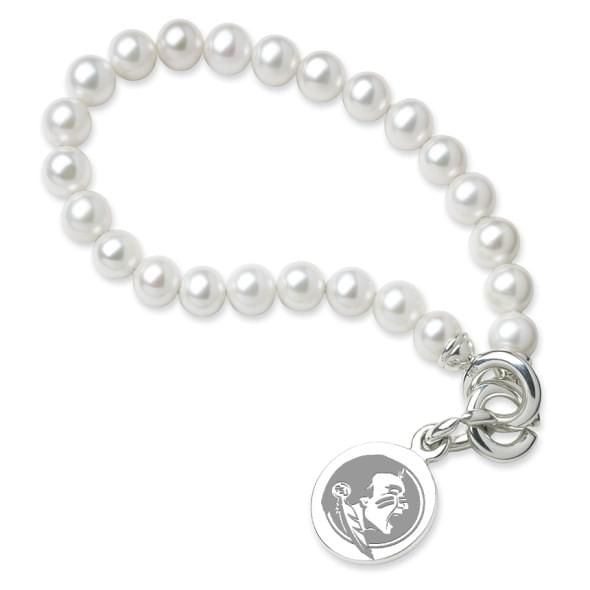 Florida State Pearl Bracelet with Sterling Silver Charm - Image 1