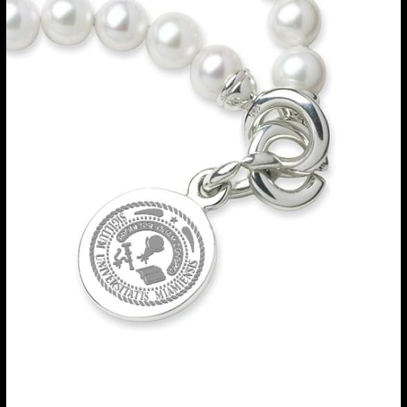 Miami University Pearl Bracelet with Sterling Silver Charm - Image 2