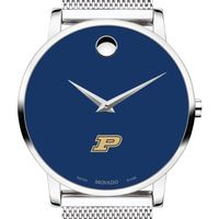 Purdue University Men's Movado Museum with Blue Dial & Mesh Bracelet
