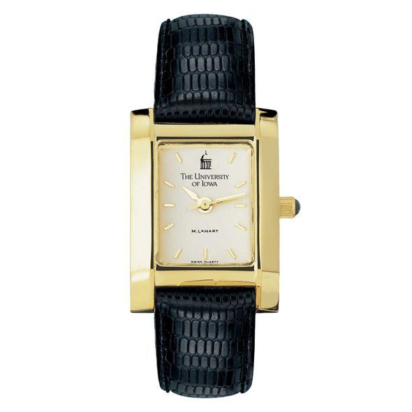 University of Iowa Women's Gold Quad with Leather Strap - Image 2
