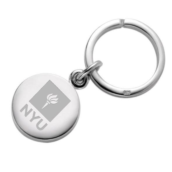 NYU Sterling Silver Insignia Key Ring