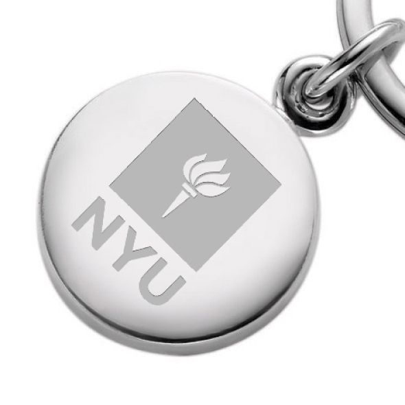 NYU Sterling Silver Insignia Key Ring - Image 2