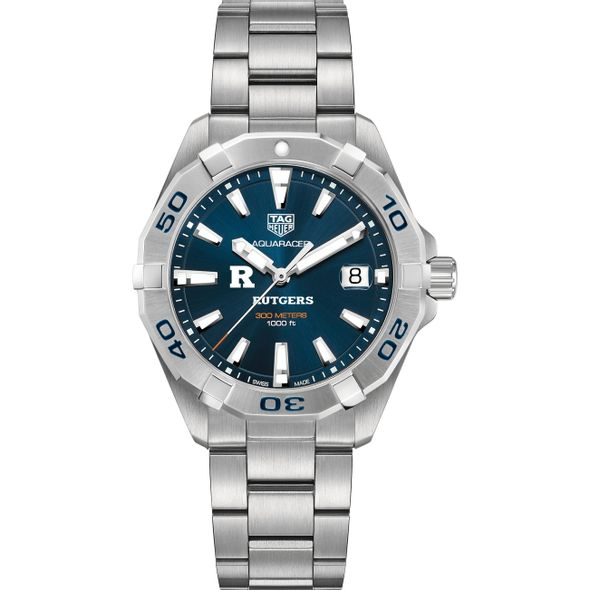 Rutgers University Men's TAG Heuer Steel Aquaracer with Blue Dial - Image 2