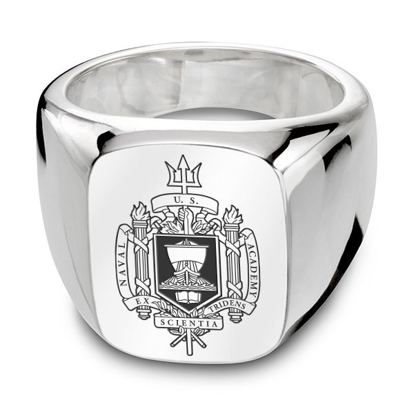 US Naval Academy Sterling Silver Rectangular Cushion Ring