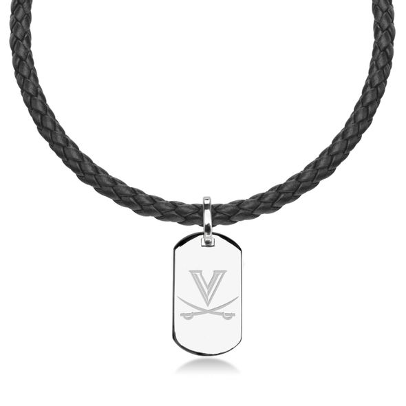 University of Virginia Leather Necklace with Sterling Dog Tag