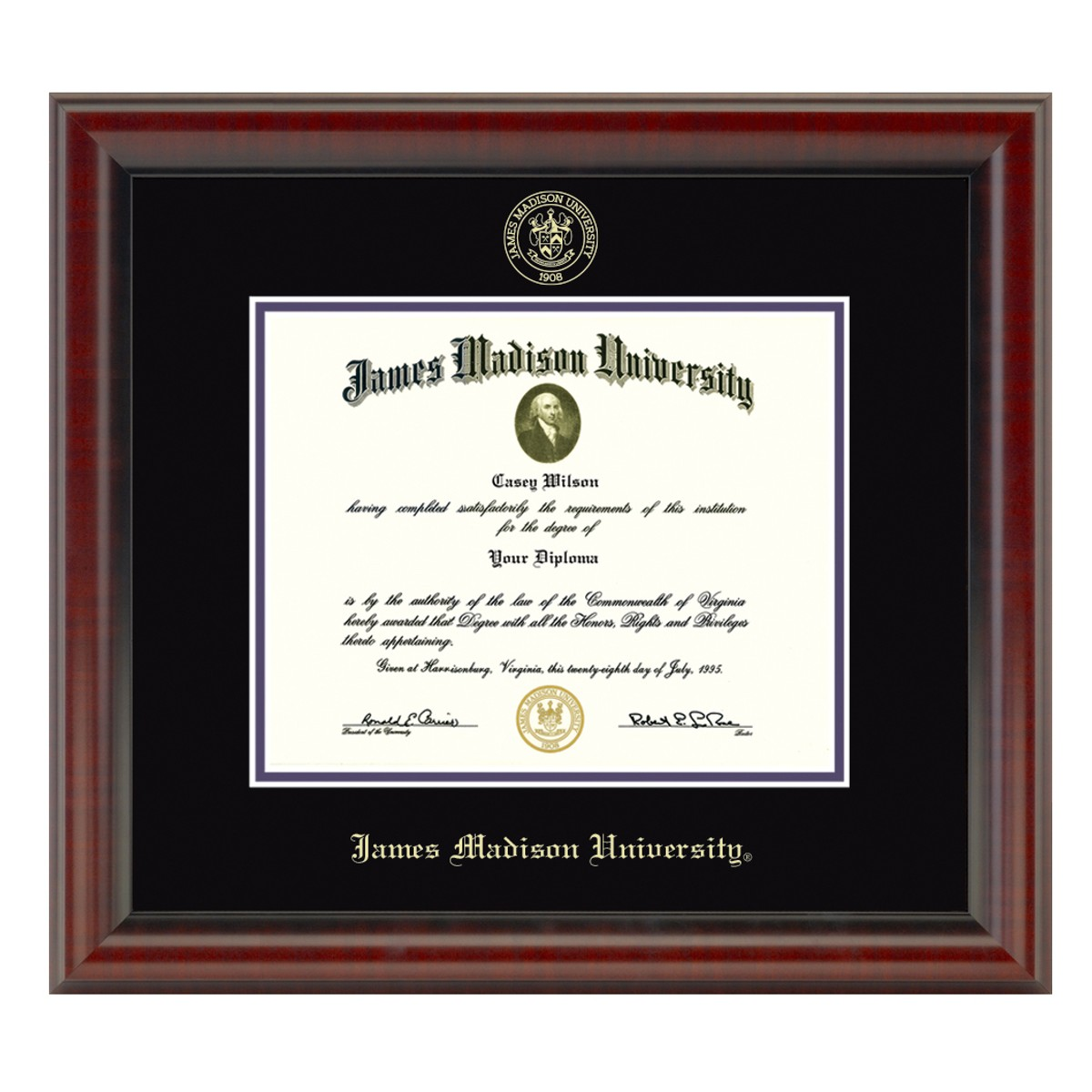 Official James Madison University Diploma Frame The