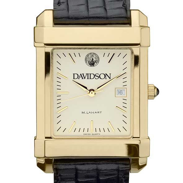 Davidson College Men's Gold Quad with Leather Strap