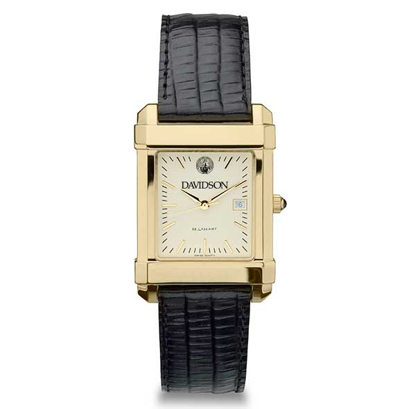 Davidson College Men's Gold Quad with Leather Strap - Image 2