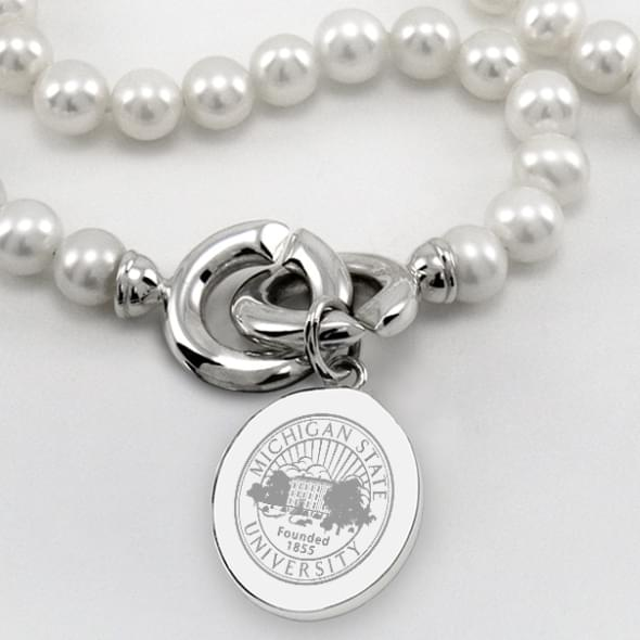 Michigan State Pearl Necklace with Sterling Silver Charm - Image 2