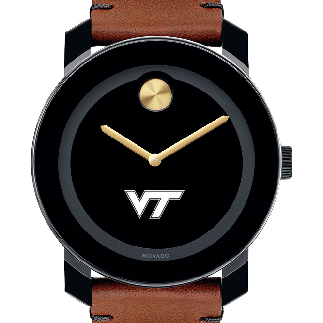 Virginia Tech Men's Movado BOLD with Brown Leather Strap