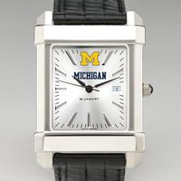 Michigan Men's Collegiate Watch with Leather Strap