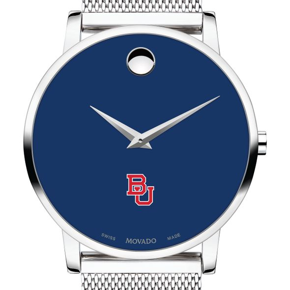 Boston University Men's Movado Museum with Blue Dial & Mesh Bracelet