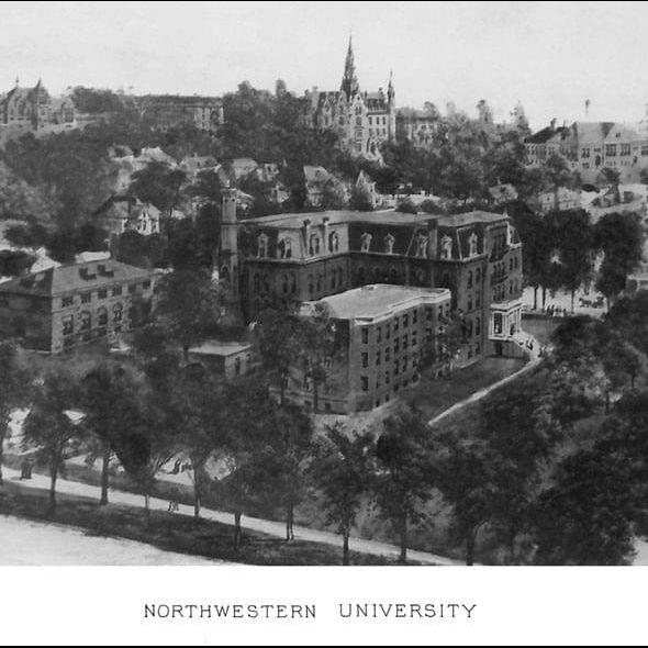 Historic Northwestern University Black and White Print - Image 2