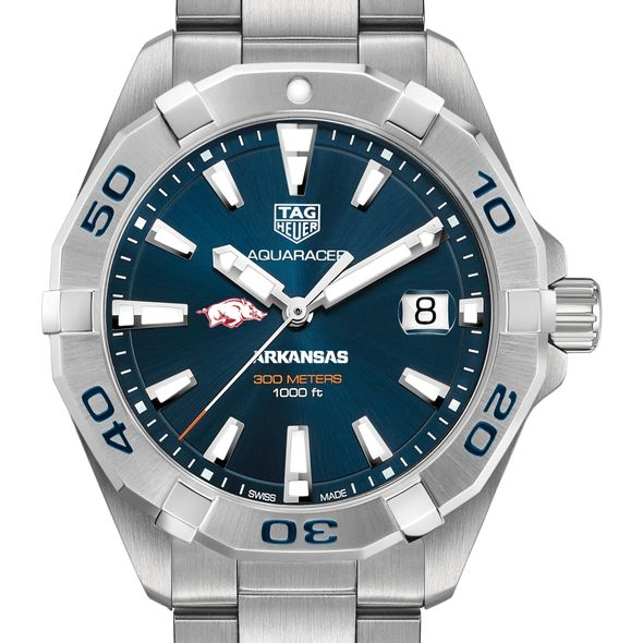 University of Arkansas Men's TAG Heuer Steel Aquaracer with Blue Dial