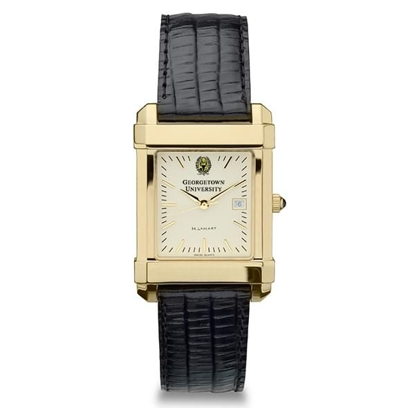 Georgetown Men's Gold Quad Watch with Leather Strap - Image 2