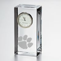 Clemson Tall Glass Desk Clock  by Simon Pearce