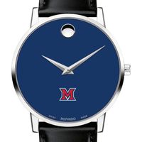 Miami University Men's Movado Museum with Blue Dial & Leather Strap