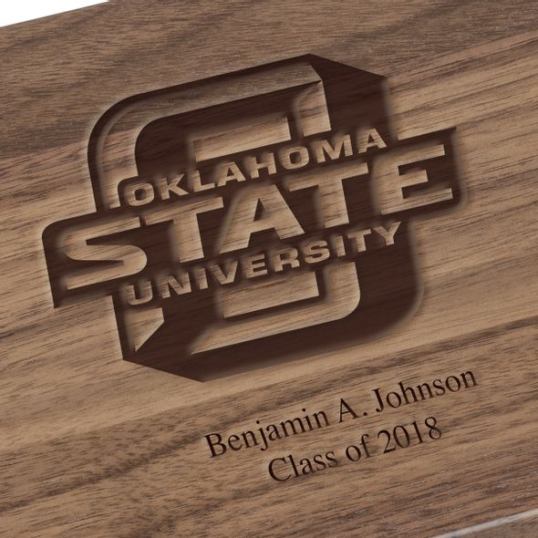 Oklahoma State University Solid Walnut Desk Box - Image 3
