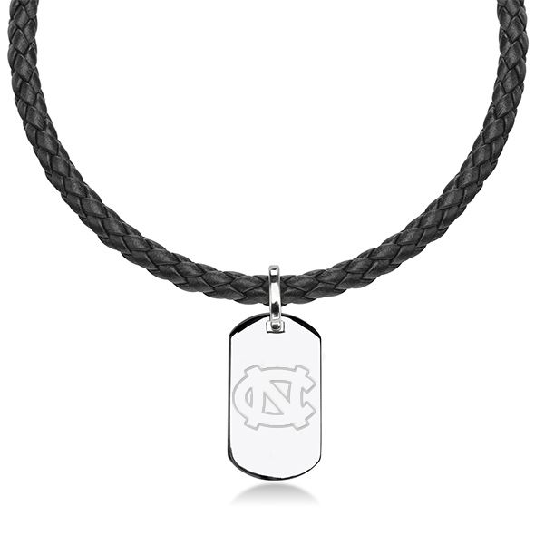 North Carolina Leather Necklace with Sterling Dog Tag