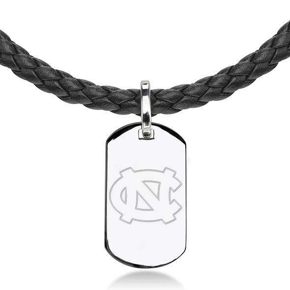 North Carolina Leather Necklace with Sterling Dog Tag - Image 2