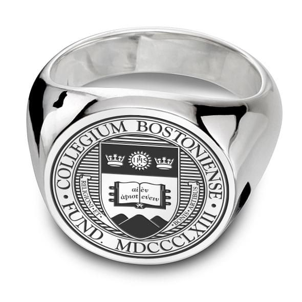 Boston College Sterling Silver Round Signet Ring