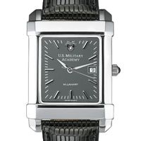 West Point Men's Gray Quad Watch with Leather Strap