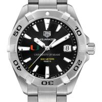 University of Miami Men's TAG Heuer Steel Aquaracer with Black Dial