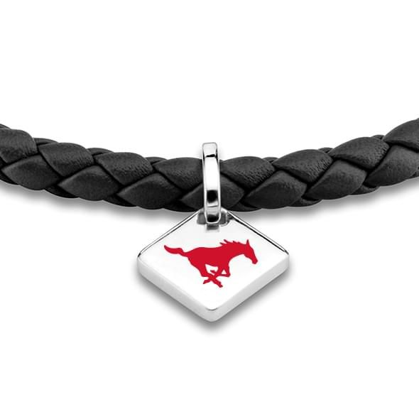 Southern Methodist University Leather Bracelet with Sterling Silver Tag - Black - Image 2