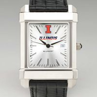 University of Illinois Men's Collegiate Watch with Leather Strap