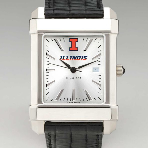 University of Illinois Men's Collegiate Watch with Leather Strap - Image 1