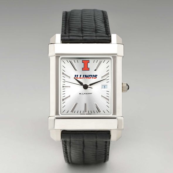 University of Illinois Men's Collegiate Watch with Leather Strap - Image 2
