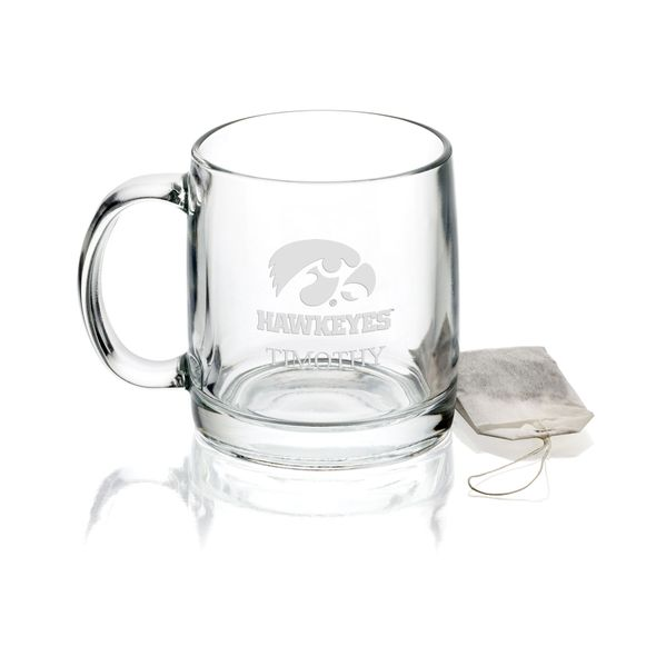 University of Iowa 13 oz Glass Coffee Mug