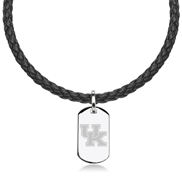 University of Kentucky Leather Necklace with Sterling Dog Tag - Image 1