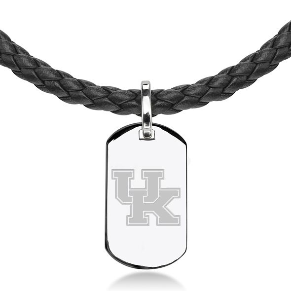 University of Kentucky Leather Necklace with Sterling Dog Tag - Image 2