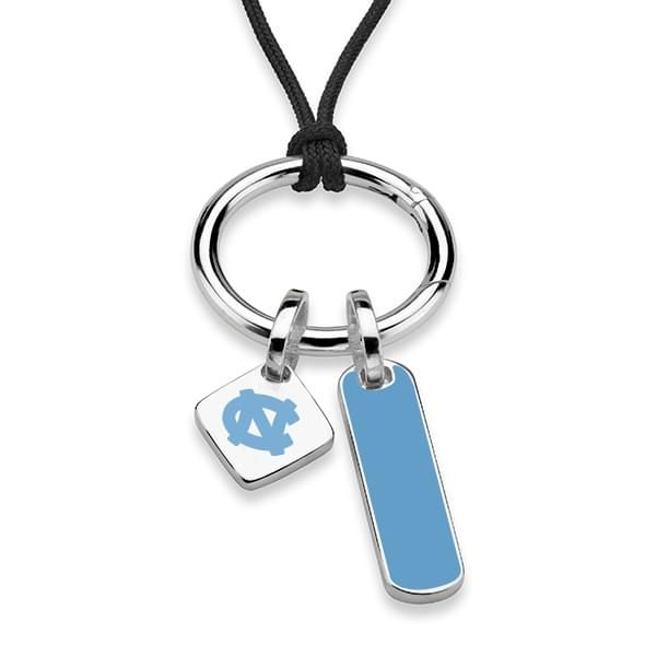 North Carolina Silk Necklace with Enamel Charm & Sterling Silver Tag