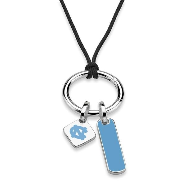 North Carolina Silk Necklace with Enamel Charm & Sterling Silver Tag - Image 2