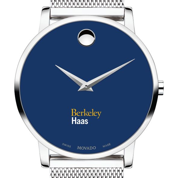 Haas School of Business Men's Movado Museum with Blue Dial & Mesh Bracelet
