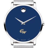 George Washington University Men's Movado Museum with Blue Dial & Mesh Bracelet